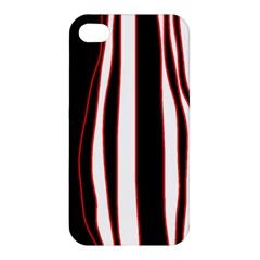 White, red and black lines Apple iPhone 4/4S Hardshell Case
