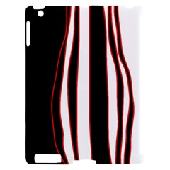 White, red and black lines Apple iPad 2 Hardshell Case (Compatible with Smart Cover)