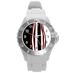 White, red and black lines Round Plastic Sport Watch (L)