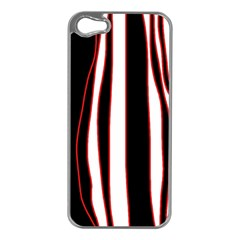 White, red and black lines Apple iPhone 5 Case (Silver)