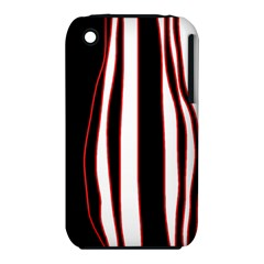 White, red and black lines Apple iPhone 3G/3GS Hardshell Case (PC+Silicone)
