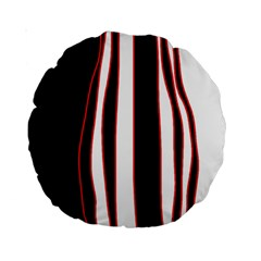 White, red and black lines Standard 15  Premium Round Cushions