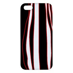 White, red and black lines Apple iPhone 5 Premium Hardshell Case