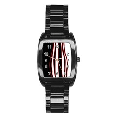 White, red and black lines Stainless Steel Barrel Watch
