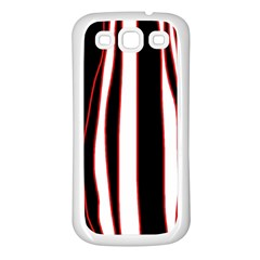 White, red and black lines Samsung Galaxy S3 Back Case (White)