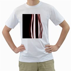 White, red and black lines Men s T-Shirt (White)