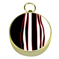 White, red and black lines Gold Compasses