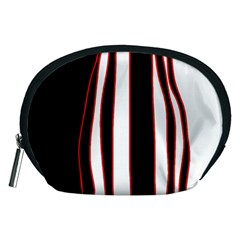 White, red and black lines Accessory Pouches (Medium)
