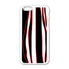 White, red and black lines Apple iPhone 6/6S White Enamel Case