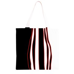 White, red and black lines Grocery Light Tote Bag