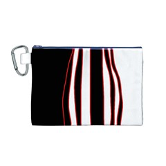 White, red and black lines Canvas Cosmetic Bag (M)