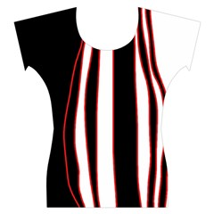 White, red and black lines Women s Cap Sleeve Top
