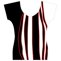 White, red and black lines Women s V-Neck Cap Sleeve Top