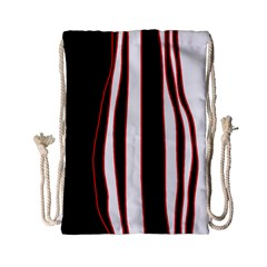 White, red and black lines Drawstring Bag (Small)