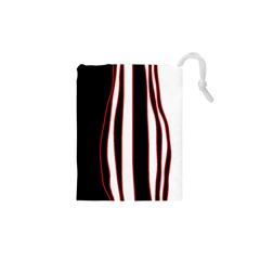 White, red and black lines Drawstring Pouches (XS)
