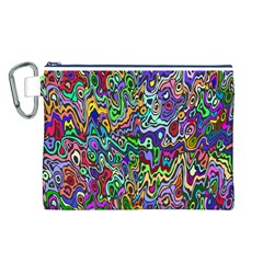 Colorful Abstract Paint Background Canvas Cosmetic Bag (L)