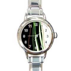 Colorful lines harmony Round Italian Charm Watch