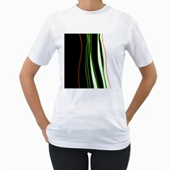 Colorful lines harmony Women s T-Shirt (White) (Two Sided)