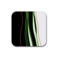 Colorful lines harmony Rubber Coaster (Square)