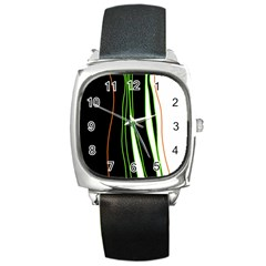 Colorful lines harmony Square Metal Watch