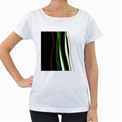 Colorful lines harmony Women s Loose-Fit T-Shirt (White)