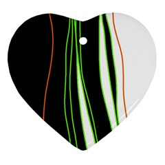 Colorful lines harmony Heart Ornament (2 Sides)