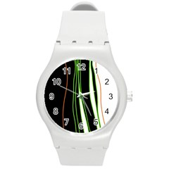Colorful lines harmony Round Plastic Sport Watch (M)