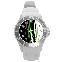 Colorful lines harmony Round Plastic Sport Watch (L)