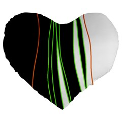 Colorful lines harmony Large 19  Premium Flano Heart Shape Cushions