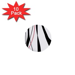 Red, white and black elegant design 1  Mini Buttons (10 pack)