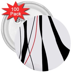 Red, white and black elegant design 3  Buttons (100 pack)