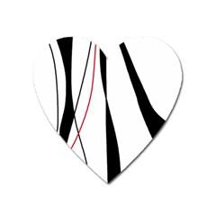 Red, white and black elegant design Heart Magnet