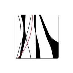 Red, white and black elegant design Square Magnet