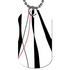 Red, white and black elegant design Dog Tag (One Side)