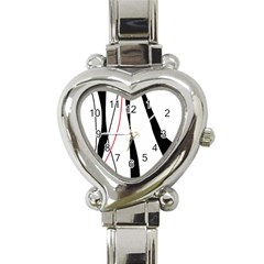 Red, white and black elegant design Heart Italian Charm Watch
