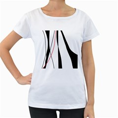 Red, white and black elegant design Women s Loose-Fit T-Shirt (White)