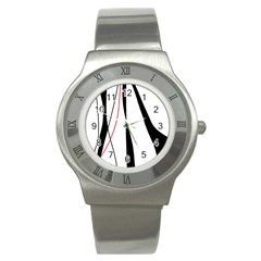 Red, white and black elegant design Stainless Steel Watch