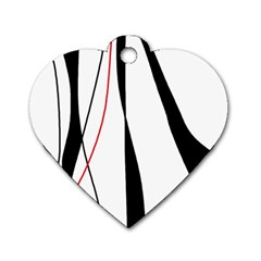 Red, white and black elegant design Dog Tag Heart (Two Sides)