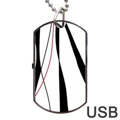 Red, white and black elegant design Dog Tag USB Flash (Two Sides)