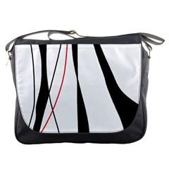 Red, white and black elegant design Messenger Bags