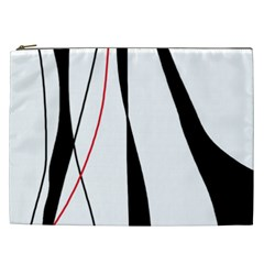 Red, white and black elegant design Cosmetic Bag (XXL)