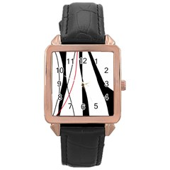 Red, white and black elegant design Rose Gold Leather Watch