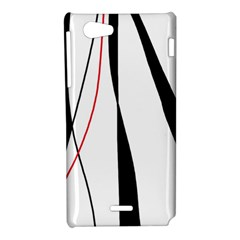 Red, white and black elegant design Sony Xperia J