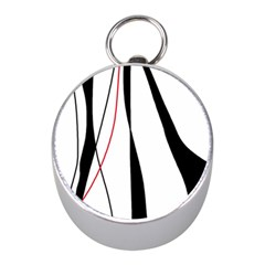 Red, white and black elegant design Mini Silver Compasses