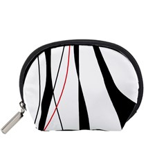 Red, white and black elegant design Accessory Pouches (Small)