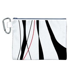 Red, white and black elegant design Canvas Cosmetic Bag (L)