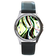 Colorful lines - abstract art Round Metal Watch