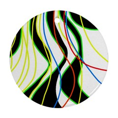 Colorful lines - abstract art Ornament (Round)