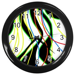 Colorful lines - abstract art Wall Clocks (Black)