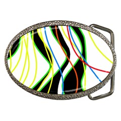 Colorful lines - abstract art Belt Buckles